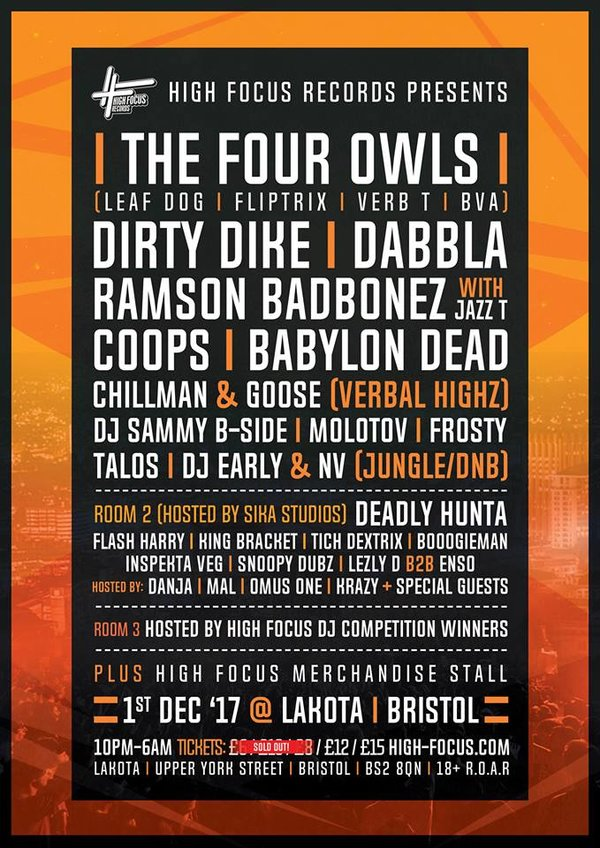 High Focus - Bristol: The Four Owls, Dirty Dike, Dabbla + more